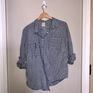 Striped Button Down Shirt with Front Pockets